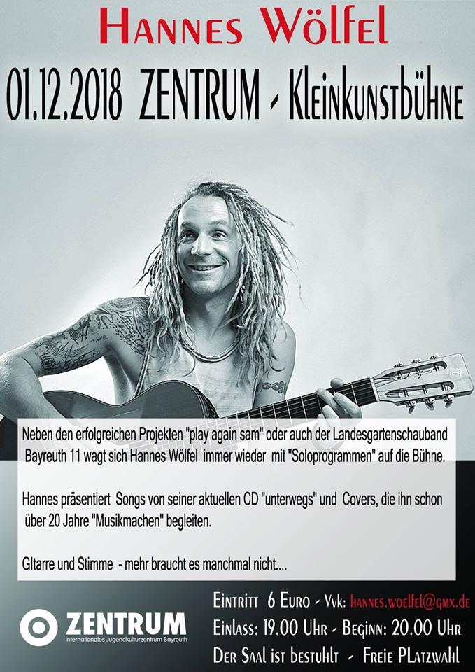 Plakat von Musiker Hannes Wölfel.